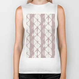 Simply Braided Chevron Clay Pink on Lunar Gray Biker Tank