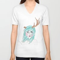antler V-neck T-shirts featuring Antler by okayleigh