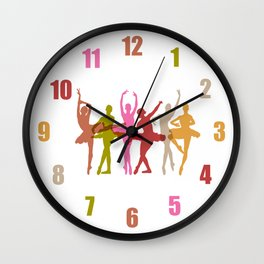 Colorful Dancing Ballerinas Wall Clock