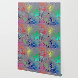 Flowers In Lace Rainbow Wallpaper