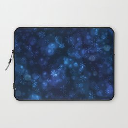 Blue Snowflakes Winter Christmas Pattern Laptop Sleeve