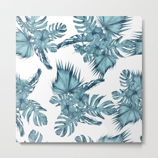 Tropical Palm Leaves Hibiscus Flowers Blue Metal Print