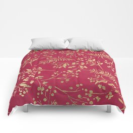 Modern magenta pink faux gold tropical floral Comforters