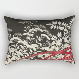 Kuro-tomesode with a Pair of Pheasants in Hiding (Japan, untouched kimono detail) Rectangular Pillow