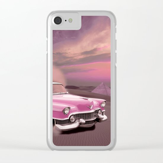 A pink cadillac and the Giza Pyramids Clear iPhone Case