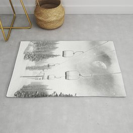 Ski Lift Moon Break // Riding the Mountain at Copper Colorado Luna Sky Peeking Foggy Clouds Rug