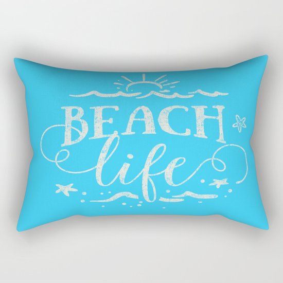 BEACH life - white Typography on Aqua for your summer - Mix & Match Rectangular Pillow
