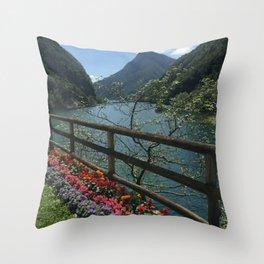 Floral Mountain Vista Throw Pillow