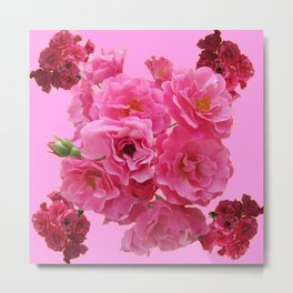 DECORATIVE FRILLY SCENTED PINK ROSE CLUSTERS ON PINK Metal Print