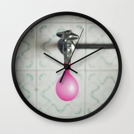 Tap with a pink balloon Wall Clock