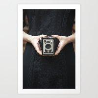 vintage camera Art Prints featuring Vintage Camera by Maria Heyens
