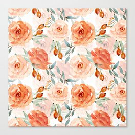 Living Coral Autumnal Roses Canvas Print