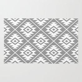Aztec Symbol Pattern White on Gray Rug