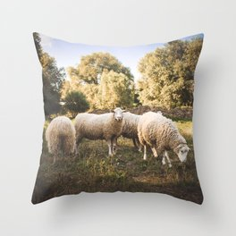 sheep herd Throw Pillow