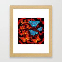Decorative Blue Moths Orange Butterflies  Design Framed Art Print