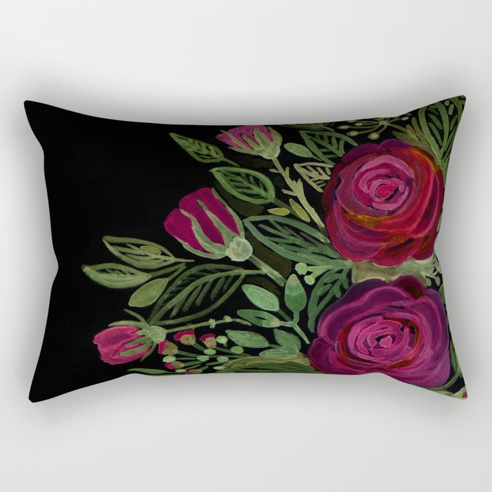 A bouquet of roses on a black background . Rectangular Pillow