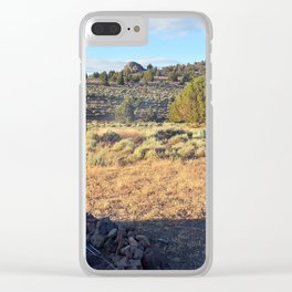 Campfire in the high desert Clear iPhone Case