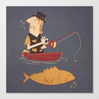 fishing Canvas Prints featuring Fishing by Matt Sinor