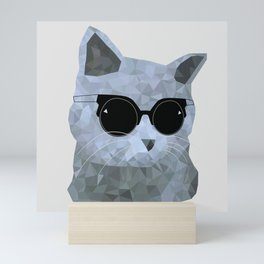 Low poly hipster british cat Mini Art Print