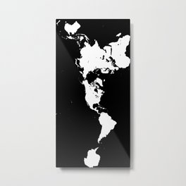 Dymaxion World Map (Fuller Projection Map) - Minimalist White on Black Metal Print