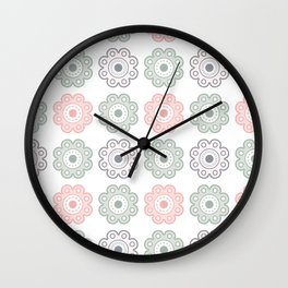 Pastel Pink and Green Floral Wall Clock