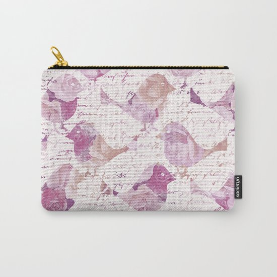 Vintage Flower Birds and handwriting pattern Carry-All Pouch