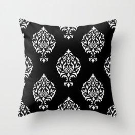 Orna Damask Pattern White on Black Throw Pillow