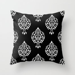Orna Damask Pattern White on Black Throw Pillow