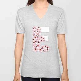 Colorful capital letter E patterned with sakura twig Unisex V-Neck