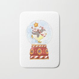 Penguin skating in a snow-globe watercolor illustration Bath Mat