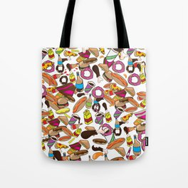 Cartoon Junk food pattern. Tote Bag
