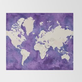 Purple watercolor and light brown world map with outilined countries Throw Blanket