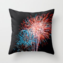 Red White and Blue Fireworks 4th of July Throw Pillow