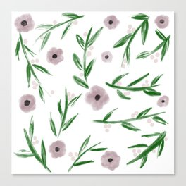 Subtle Flowers and Leaves Watercolor Canvas Print