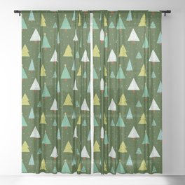 Holly Jolly Christmas Trees - Green Sheer Curtain