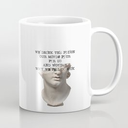 Dark Academia | We Drink The Poison Our Minds Pour For Us | Greek Statue Study Light  Coffee Mug