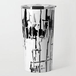 Black and White Cityscape Travel Mug