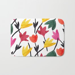Watercolor Flowers Pattern Bath Mat