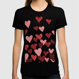 Valentine's Day Watercolor Hearts - red T-shirt