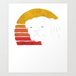 Retro English Bulldog  Art Print