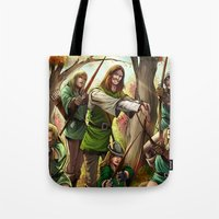 robin hood Tote Bags featuring Robin Hood and his Merry Women by Eco Comics