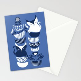 Swedish folk cats I // Indigo blue background Stationery Cards