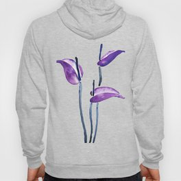 three purple flamingo flowers Hoody