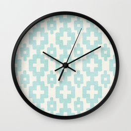 Pastel Marine Blue Turquoise Geometric Watercolor Aztec Pattern Cute Light Hearted Style Wall Clock