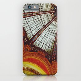 Stained glass roof of the Lafayette Galleries in Paris - Fine Arts Travel Photography iPhone Case