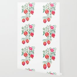 red pomegranate watercolor Wallpaper