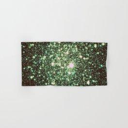 Green Gold Galaxy Sparkle Stars Hand & Bath Towel