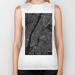 New York City Black Map Biker Tank