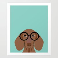 daschund Art Prints featuring Remy - Daschund with Fashion glasses, hipster glasses, hipster dog, doxie,  by PetFriendly
