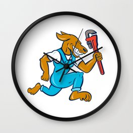 Dog Plumber Running Monkey Wrench Cartoon Wall Clock